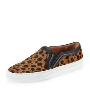 Givenchy Leopard Print Calf Hair Slip On Sneaker